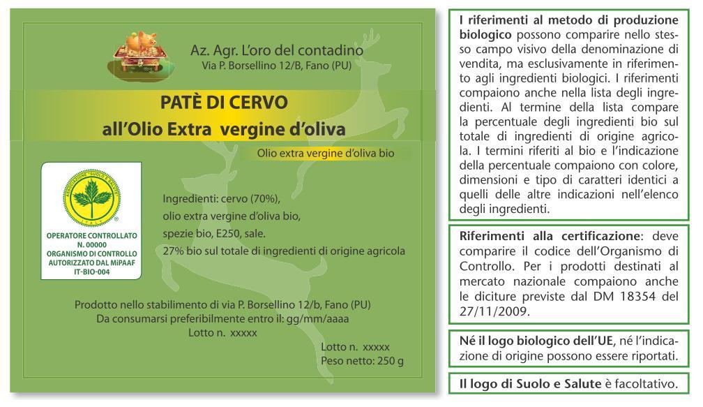 Extrêmement Esempi di etichette di prodotti biologici - Suolo e Salute YH86