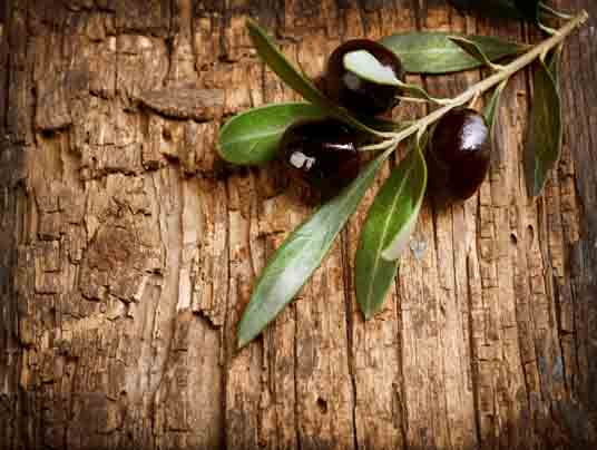 Olives over Old Wood Background