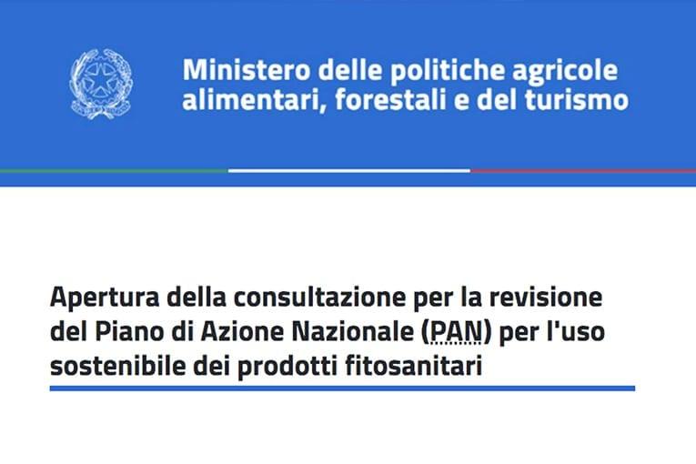Apertura della consultazione per la revisione del Piano di Azione Nazionale (PAN) per l'uso sostenibile dei prodotti fitosanitari